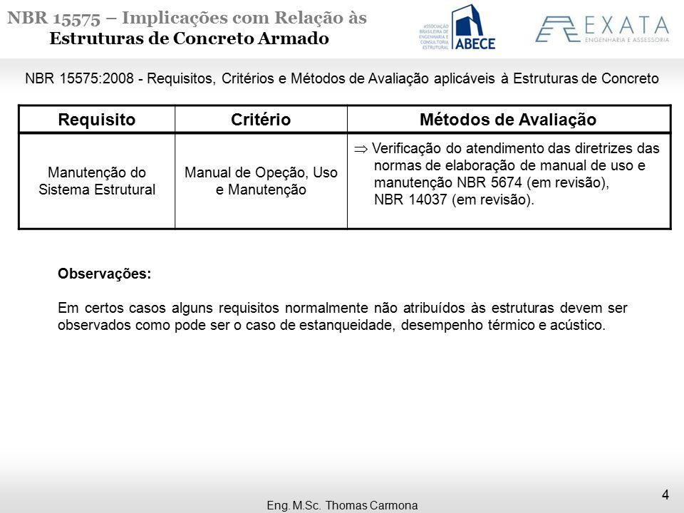 NBR 15575 – Implicações com Relação às Estruturas de Concreto Armado 4 Eng. M.Sc. Thomas Carmona NBR 15575:2008 - Requisitos, Critérios e Métodos de A