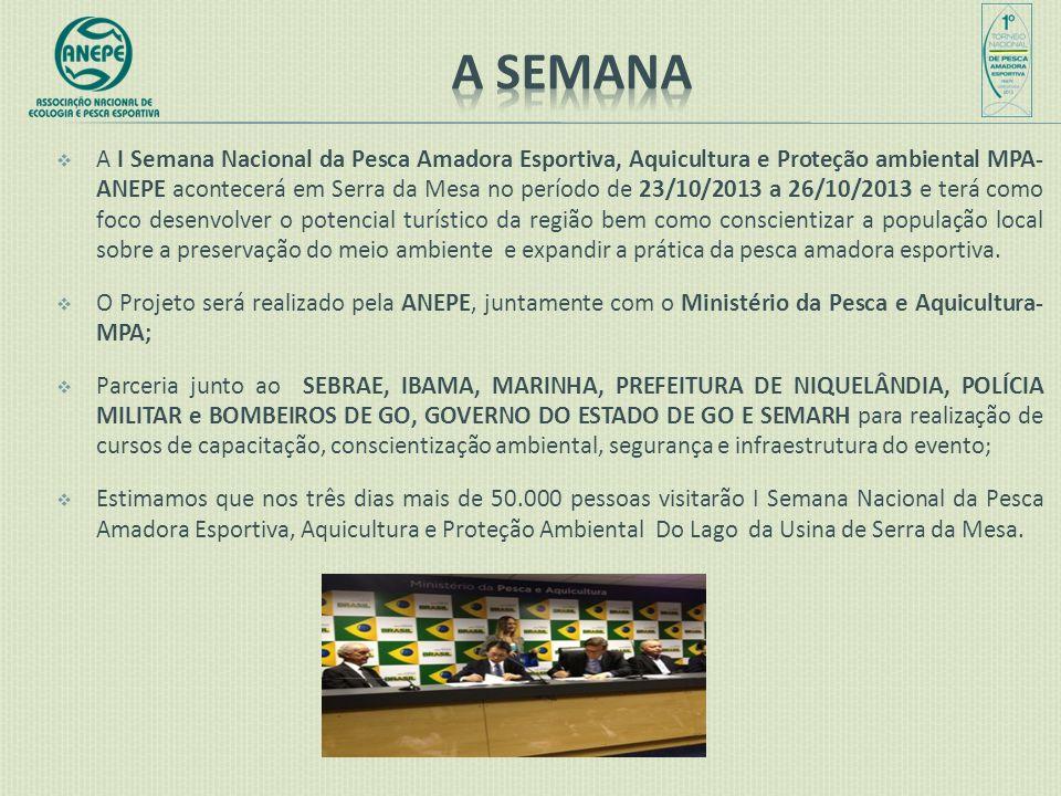  A I Semana Nacional da Pesca Amadora Esportiva, Aquicultura e Proteção ambiental MPA- ANEPE acontecerá em Serra da Mesa no período de 23/10/2013 a 2