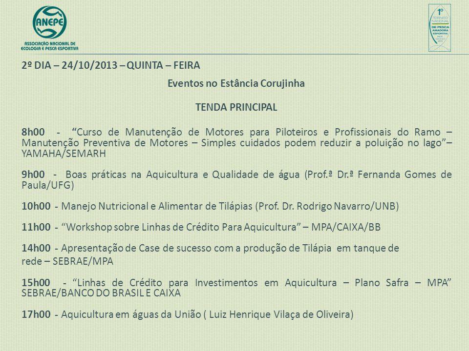 """2º DIA – 24/10/2013 – QUINTA – FEIRA Eventos no Estância Corujinha TENDA PRINCIPAL 8h00 - """"Curso de Manutenção de Motores para Piloteiros e Profission"""
