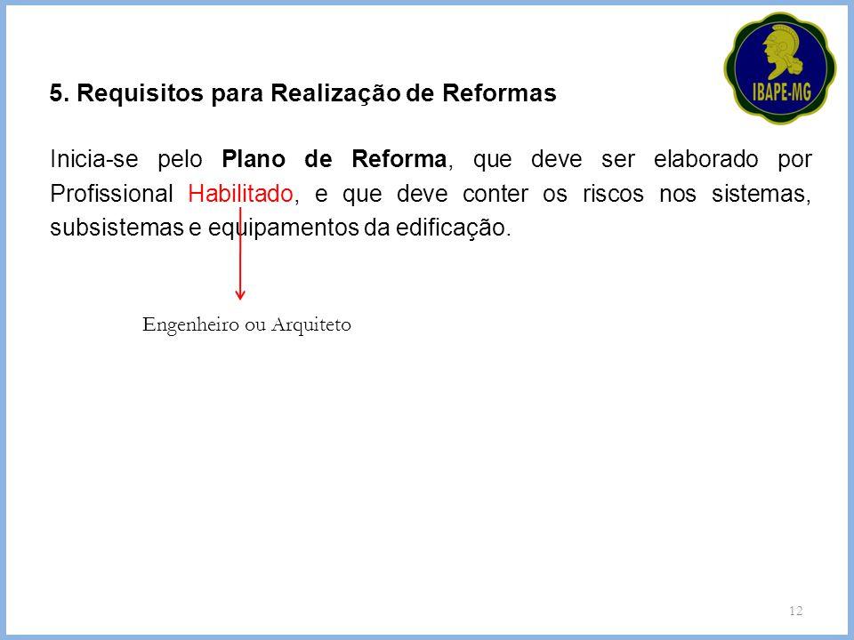 12 5. Requisitos para Realização de Reformas Inicia-se pelo Plano de Reforma, que deve ser elaborado por Profissional Habilitado, e que deve conter os