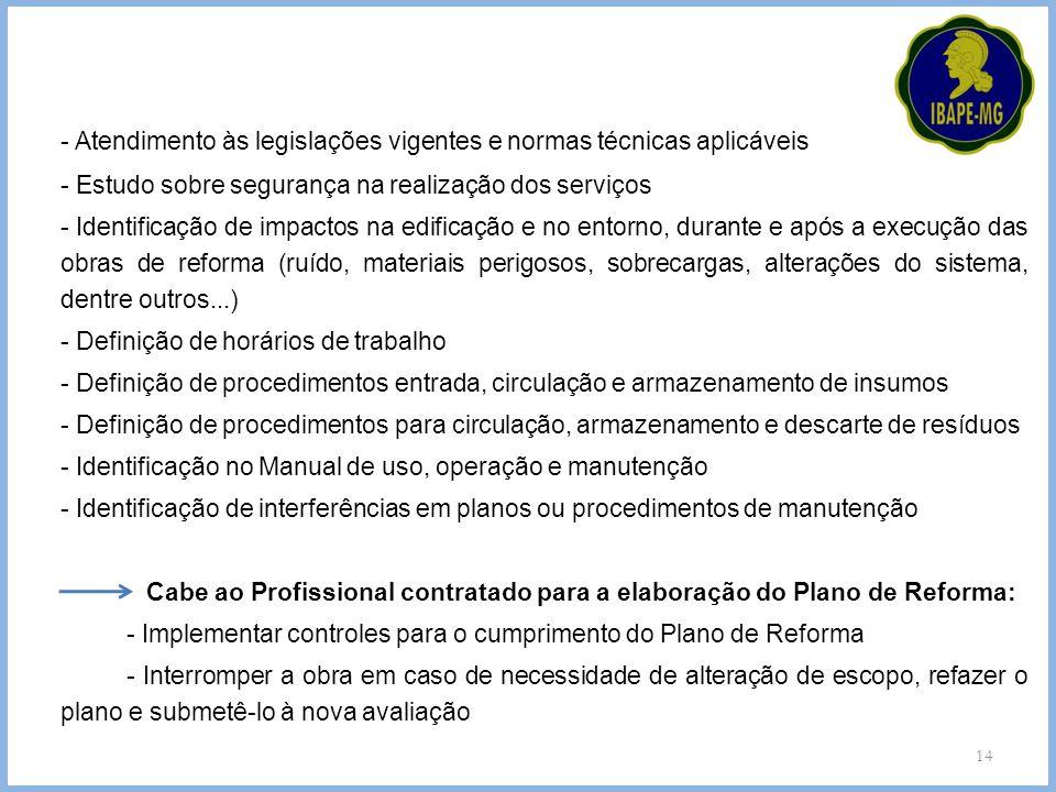 14 - Atendimento às legislações vigentes e normas técnicas aplicáveis - Estudo sobre segurança na realização dos serviços - Identificação de impactos