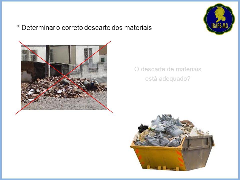 O descarte de materiais está adequado? * Determinar o correto descarte dos materiais