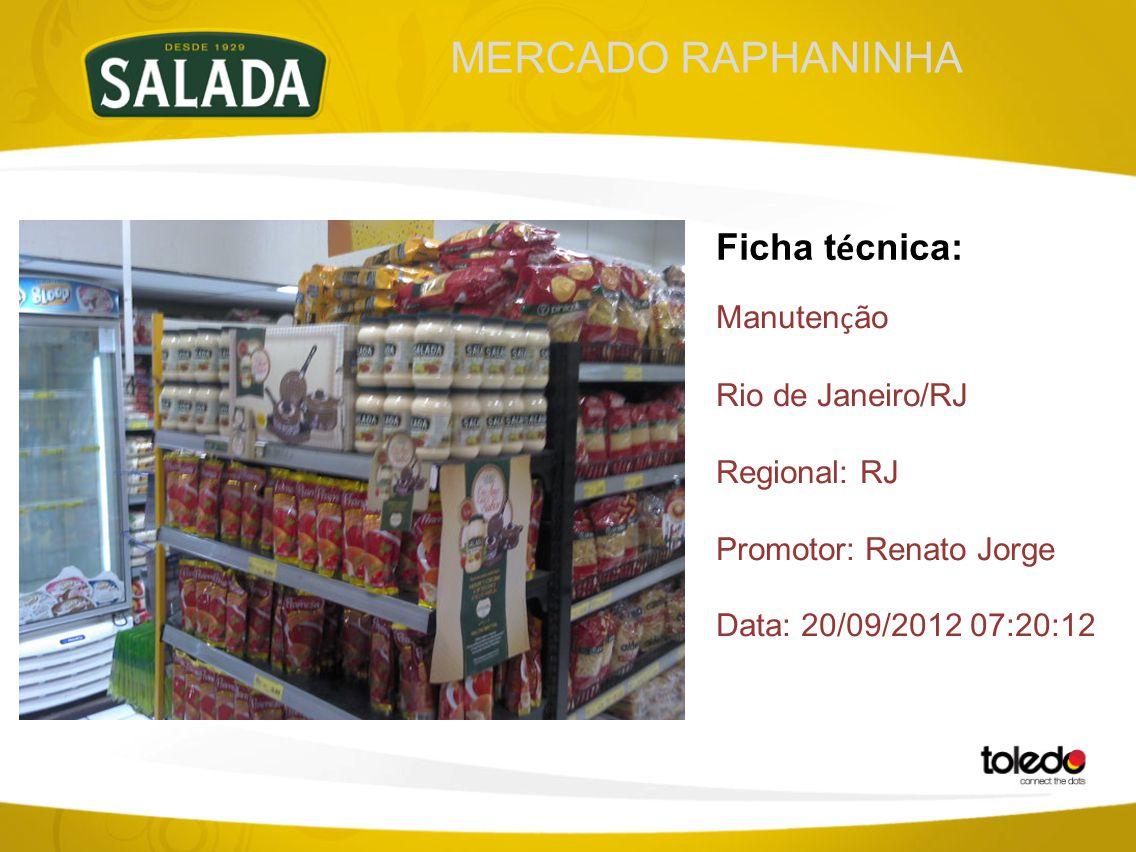 MERCADO RAPHANINHA Ficha t é cnica: Manuten ç ão Rio de Janeiro/RJ Regional: RJ Promotor: Renato Jorge Data: 20/09/2012 07:20:12