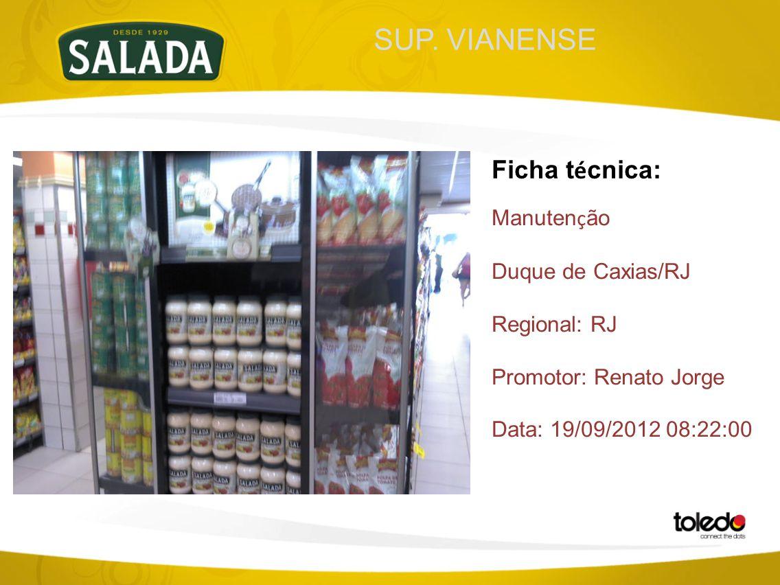 SUP. VIANENSE Ficha t é cnica: Manuten ç ão Duque de Caxias/RJ Regional: RJ Promotor: Renato Jorge Data: 19/09/2012 08:22:00