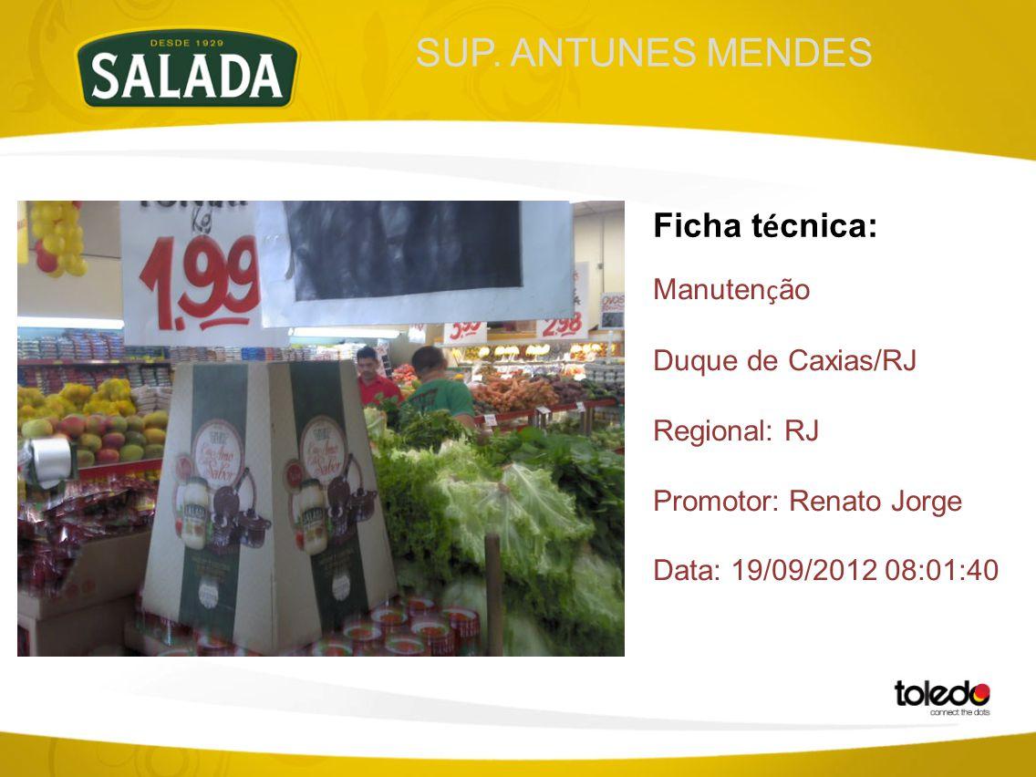SUP. ANTUNES MENDES Ficha t é cnica: Manuten ç ão Duque de Caxias/RJ Regional: RJ Promotor: Renato Jorge Data: 19/09/2012 08:01:40