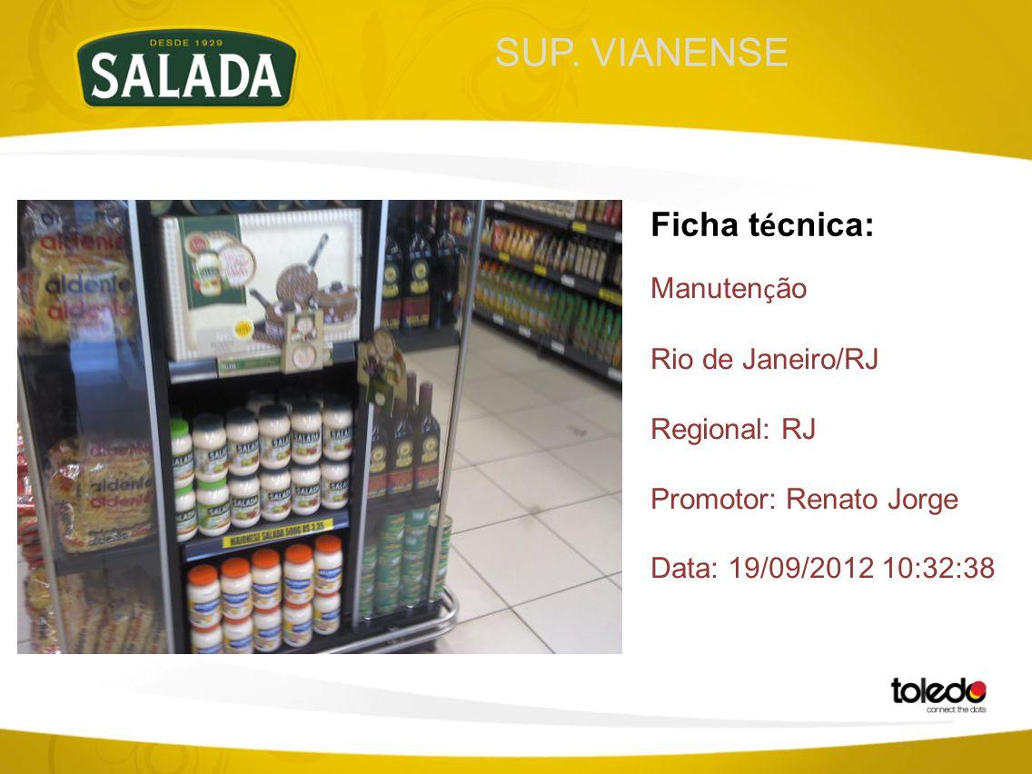 SUP. VIANENSE Ficha t é cnica: Manuten ç ão Rio de Janeiro/RJ Regional: RJ Promotor: Renato Jorge Data: 19/09/2012 10:32:38