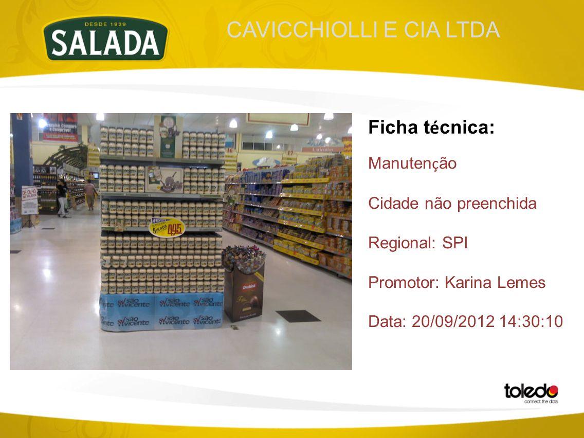 CAVICCHIOLLI E CIA LTDA Ficha t é cnica: Manuten ç ão Cidade não preenchida Regional: SPI Promotor: Karina Lemes Data: 20/09/2012 14:30:10