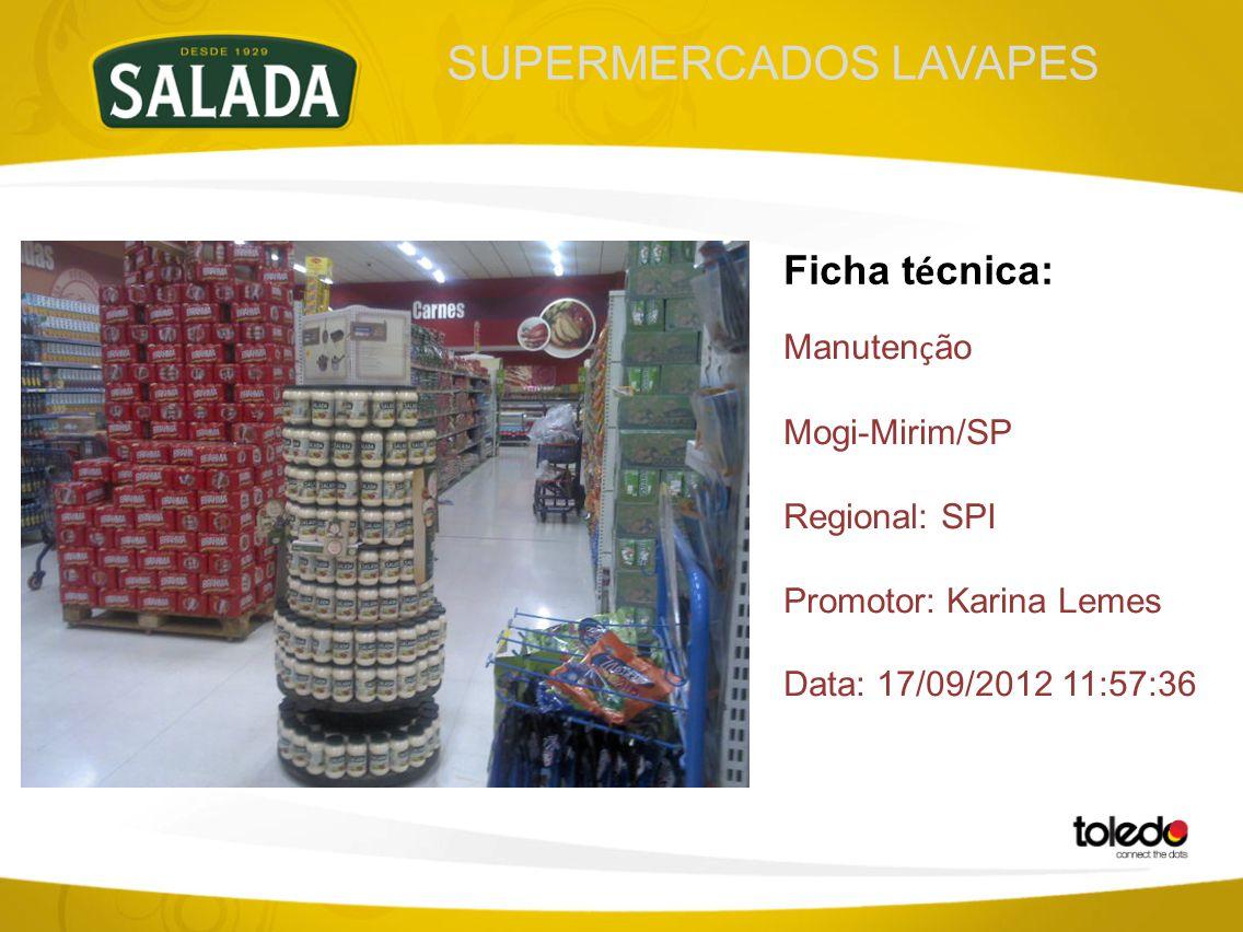 SUPERMERCADOS LAVAPES Ficha t é cnica: Manuten ç ão Mogi-Mirim/SP Regional: SPI Promotor: Karina Lemes Data: 17/09/2012 11:57:36