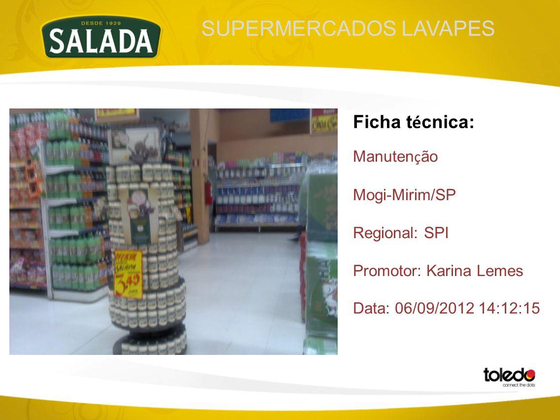 SUPERMERCADOS LAVAPES Ficha t é cnica: Manuten ç ão Mogi-Mirim/SP Regional: SPI Promotor: Karina Lemes Data: 06/09/2012 14:12:15