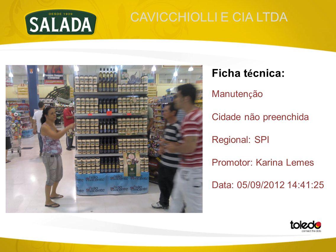 CAVICCHIOLLI E CIA LTDA Ficha t é cnica: Manuten ç ão Cidade não preenchida Regional: SPI Promotor: Karina Lemes Data: 05/09/2012 14:41:25