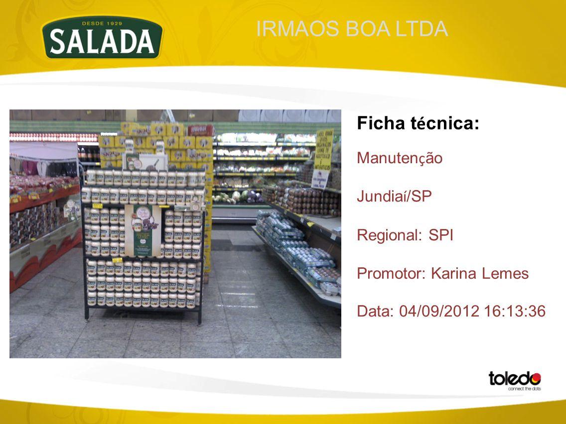 IRMAOS BOA LTDA Ficha t é cnica: Manuten ç ão Jundia í /SP Regional: SPI Promotor: Karina Lemes Data: 04/09/2012 16:13:36
