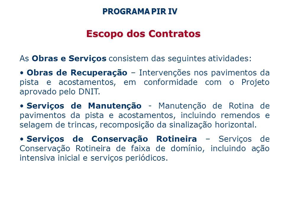 Escopo dos Contratos As Obras e Serviços consistem das seguintes atividades: Obras de Recuperação – Intervenções nos pavimentos da pista e acostamentos, em conformidade com o Projeto aprovado pelo DNIT.