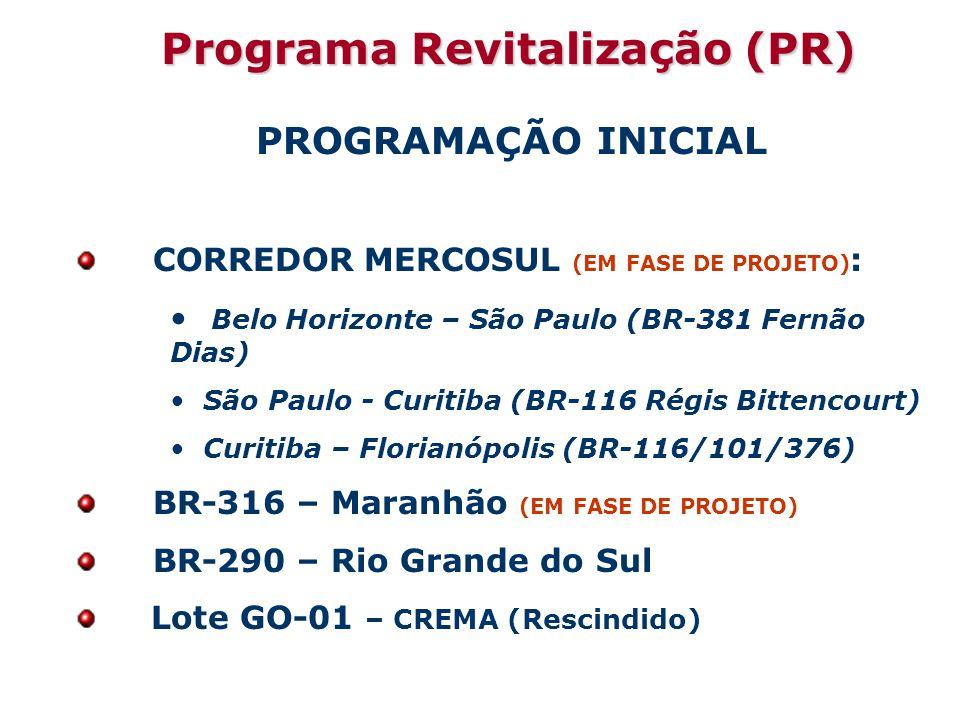 Programa Revitalização (PR) PROGRAMAÇÃO INICIAL CORREDOR MERCOSUL (EM FASE DE PROJETO) : Belo Horizonte – São Paulo (BR-381 Fernão Dias) São Paulo - Curitiba (BR-116 Régis Bittencourt) Curitiba – Florianópolis (BR-116/101/376) BR-316 – Maranhão (EM FASE DE PROJETO) BR-290 – Rio Grande do Sul Lote GO-01 – CREMA (Rescindido)