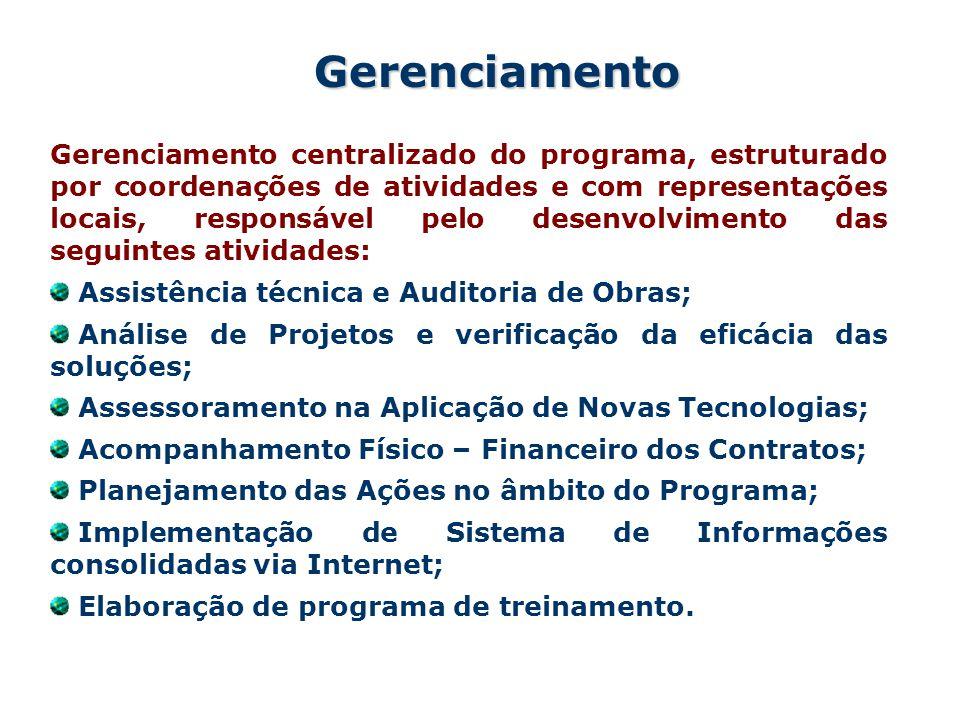Gerenciamento centralizado do programa, estruturado por coordenações de atividades e com representações locais, responsável pelo desenvolvimento das seguintes atividades: Assistência técnica e Auditoria de Obras; Análise de Projetos e verificação da eficácia das soluções; Assessoramento na Aplicação de Novas Tecnologias; Acompanhamento Físico – Financeiro dos Contratos; Planejamento das Ações no âmbito do Programa; Implementação de Sistema de Informações consolidadas via Internet; Elaboração de programa de treinamento.