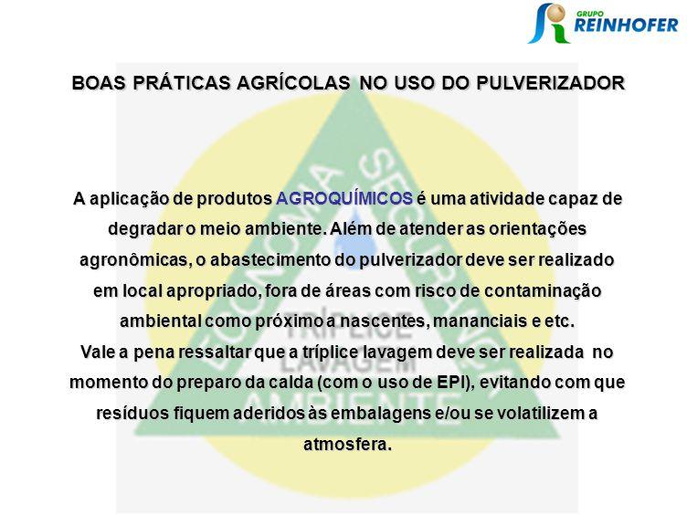 A aplicação de produtos AGROQUÍMICOS é uma atividade capaz de degradar o meio ambiente. Além de atender as orientações agronômicas, o abastecimento do