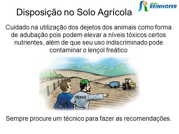 Disposição no Solo Agrícola Cuidado na utilização dos dejetos dos animais como forma de adubação pois podem elevar a níveis tóxicos certos nutrientes,