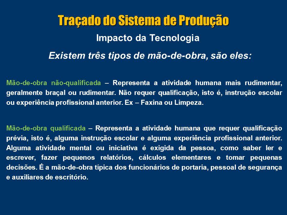 Impacto da Tecnologia Existem três tipos de mão-de-obra, são eles: Mão-de-obra especializada – Representa a atividade humana que requer especialização, isto é, uma instrução específica e uma instrução prévia anterior.