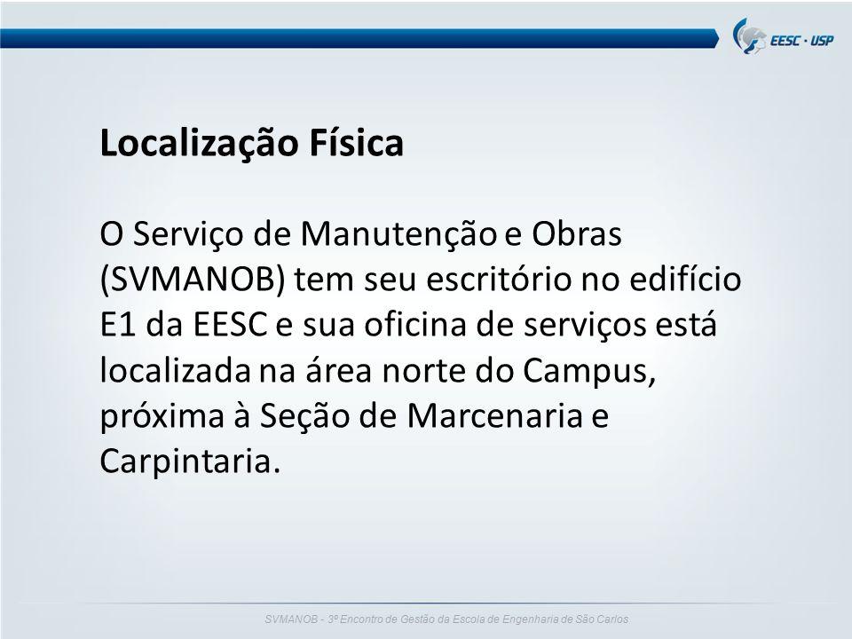 SVMANOB - 3º Encontro de Gestão da Escola de Engenharia de São Carlos Localização Física O Serviço de Manutenção e Obras (SVMANOB) tem seu escritório