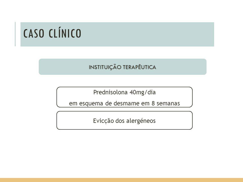 CASO CLÍNICO INSTITUIÇÃO TERAPÊUTICA Prednisolona 40mg/dia em esquema de desmame em 8 semanas Evicção dos alergéneos