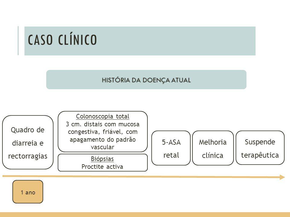 CASO CLÍNICO HISTÓRIA DA DOENÇA ATUAL Quadro de diarreia e rectorragias Colonoscopia total 3 cm. distais com mucosa congestiva, friável, com apagament