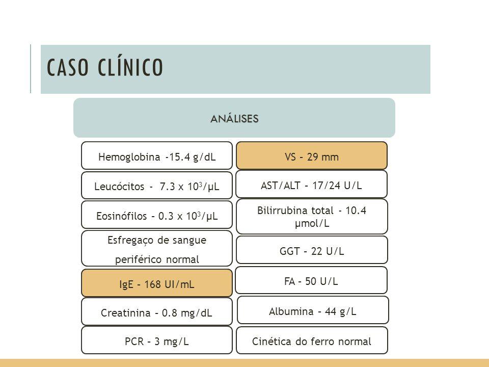 CASO CLÍNICO ANÁLISES VS – 29 mm IgE – 168 UI/mL Hemoglobina -15.4 g/dL Esfregaço de sangue periférico normal Leucócitos - 7.3 x 10 3 /µL Eosinófilos