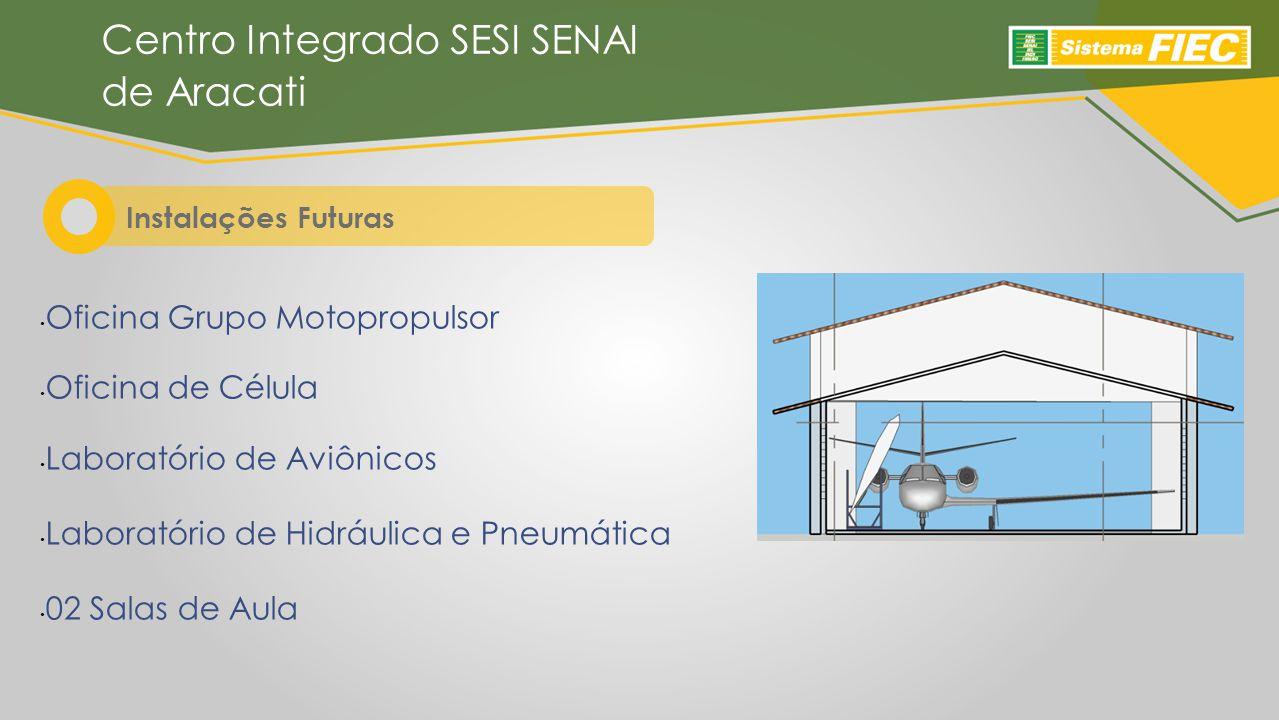 Instalações Futuras Centro Integrado SESI SENAI de Aracati Oficina Grupo Motopropulsor Oficina de Célula Laboratório de Aviônicos Laboratório de Hidráulica e Pneumática 02 Salas de Aula