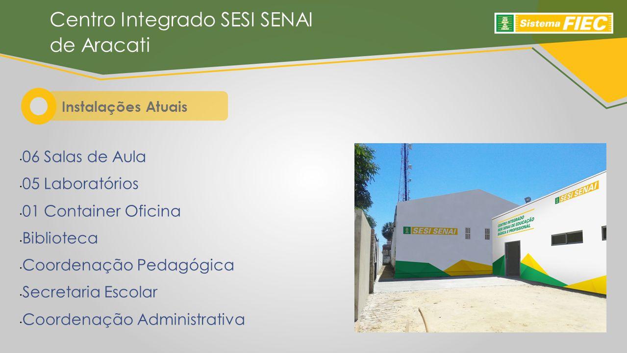 06 Salas de Aula 05 Laboratórios 01 Container Oficina Biblioteca Coordenação Pedagógica Secretaria Escolar Coordenação Administrativa Instalações Atuais Centro Integrado SESI SENAI de Aracati