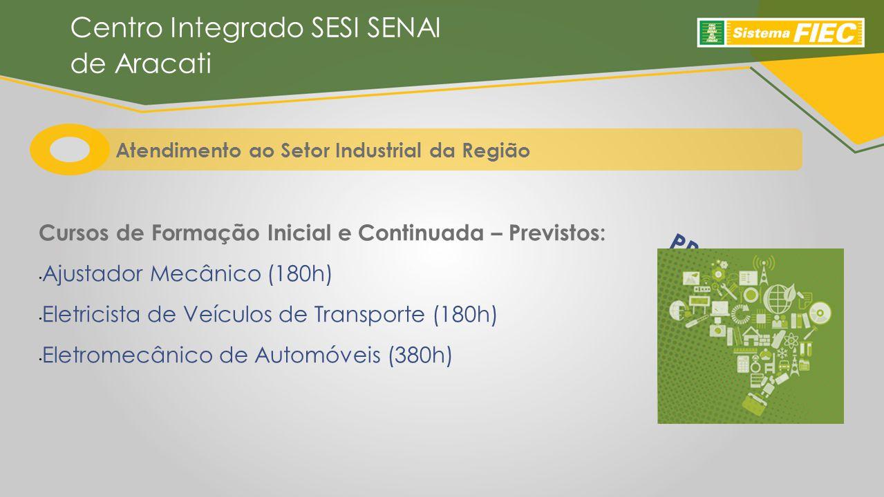 Centro Integrado SESI SENAI de Aracati Cursos de Formação Inicial e Continuada – Previstos: Ajustador Mecânico (180h) Eletricista de Veículos de Transporte (180h) Eletromecânico de Automóveis (380h) PRONATEC Atendimento ao Setor Industrial da Região