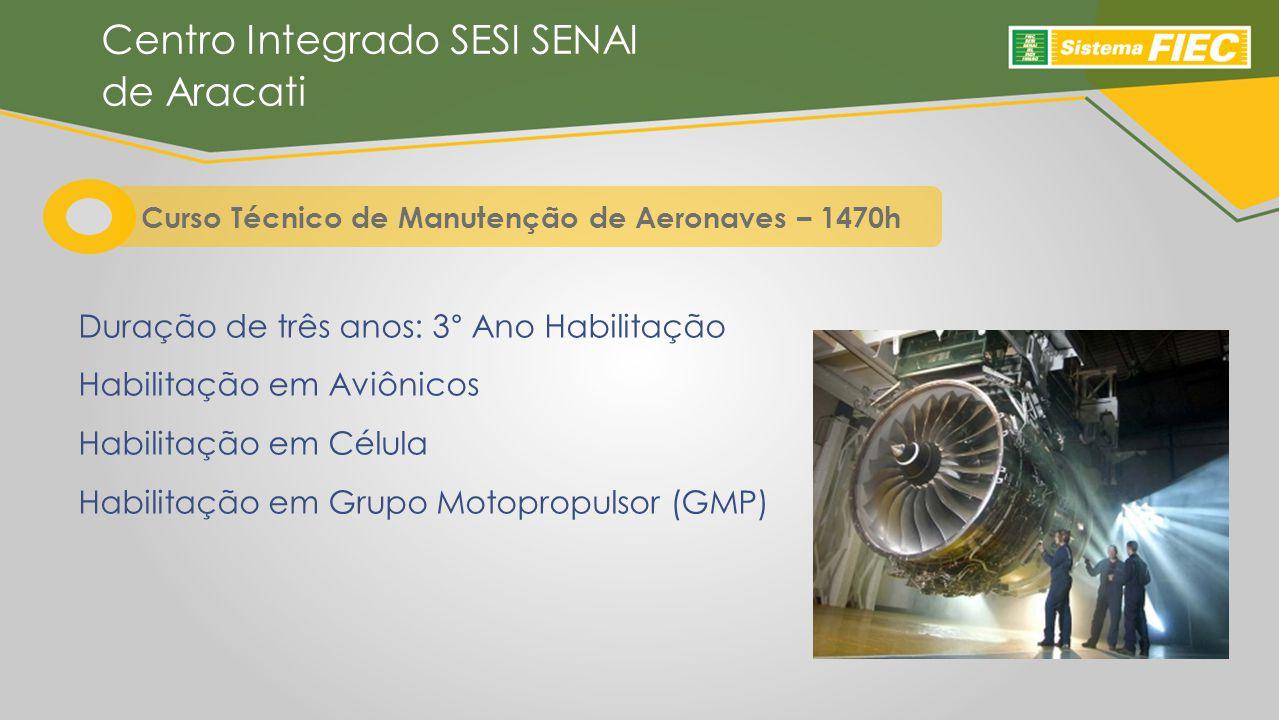 Duração de três anos: 3° Ano Habilitação Habilitação em Aviônicos Habilitação em Célula Habilitação em Grupo Motopropulsor (GMP) Centro Integrado SESI SENAI de Aracati Curso Técnico de Manutenção de Aeronaves – 1470h