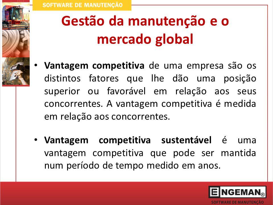 Gestão da manutenção e o mercado global Vantagem competitiva de uma empresa são os distintos fatores que lhe dão uma posição superior ou favorável em