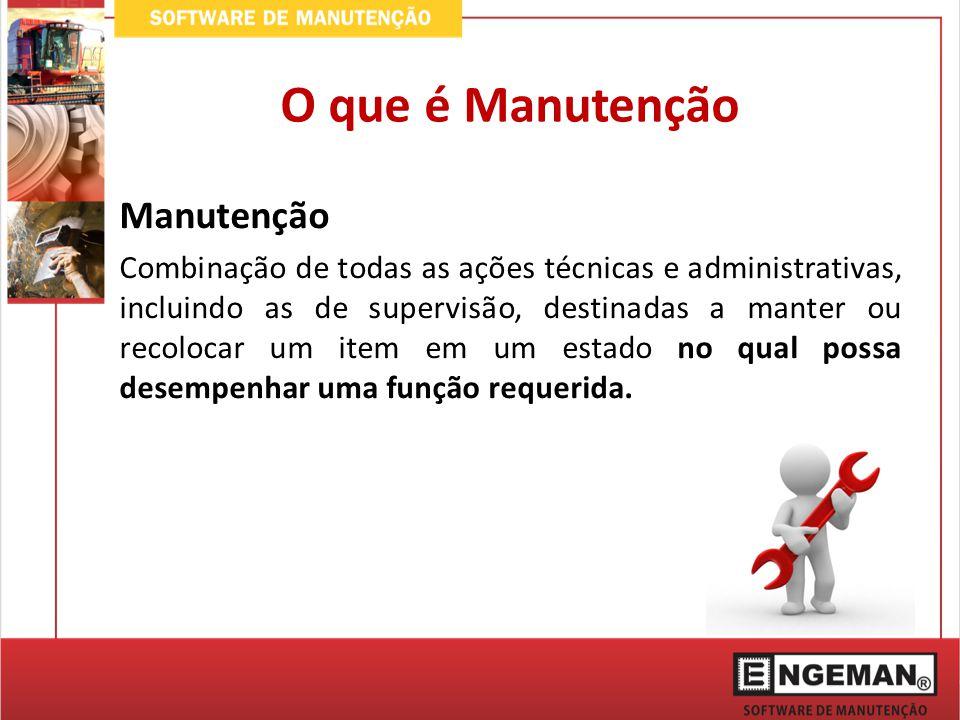 Manutenção Combinação de todas as ações técnicas e administrativas, incluindo as de supervisão, destinadas a manter ou recolocar um item em um estado no qual possa desempenhar uma função requerida.
