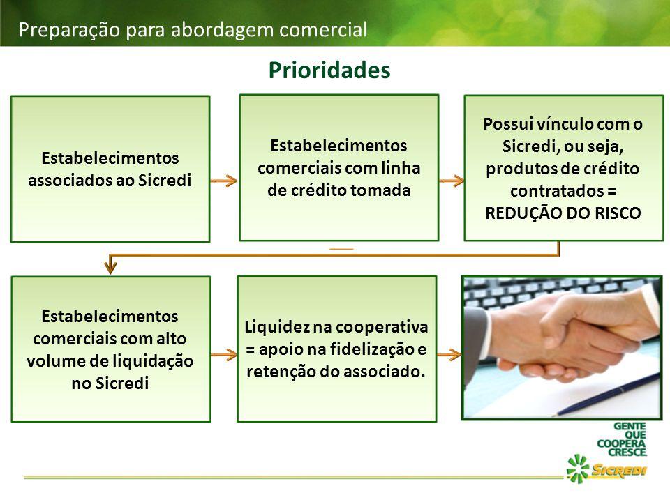 Prioridades Preparação para abordagem comercial Estabelecimentos associados ao Sicredi Estabelecimentos comerciais com linha de crédito tomada Possui