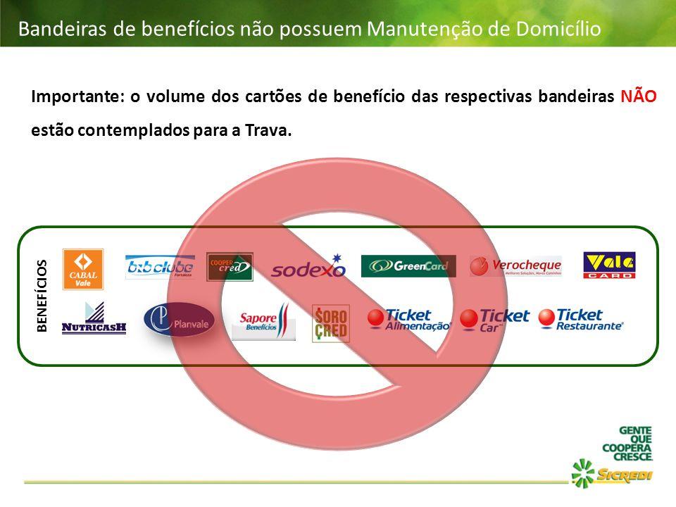 Bandeiras de benefícios não possuem Manutenção de Domicílio BENEFÍCIOS Importante: o volume dos cartões de benefício das respectivas bandeiras NÃO est