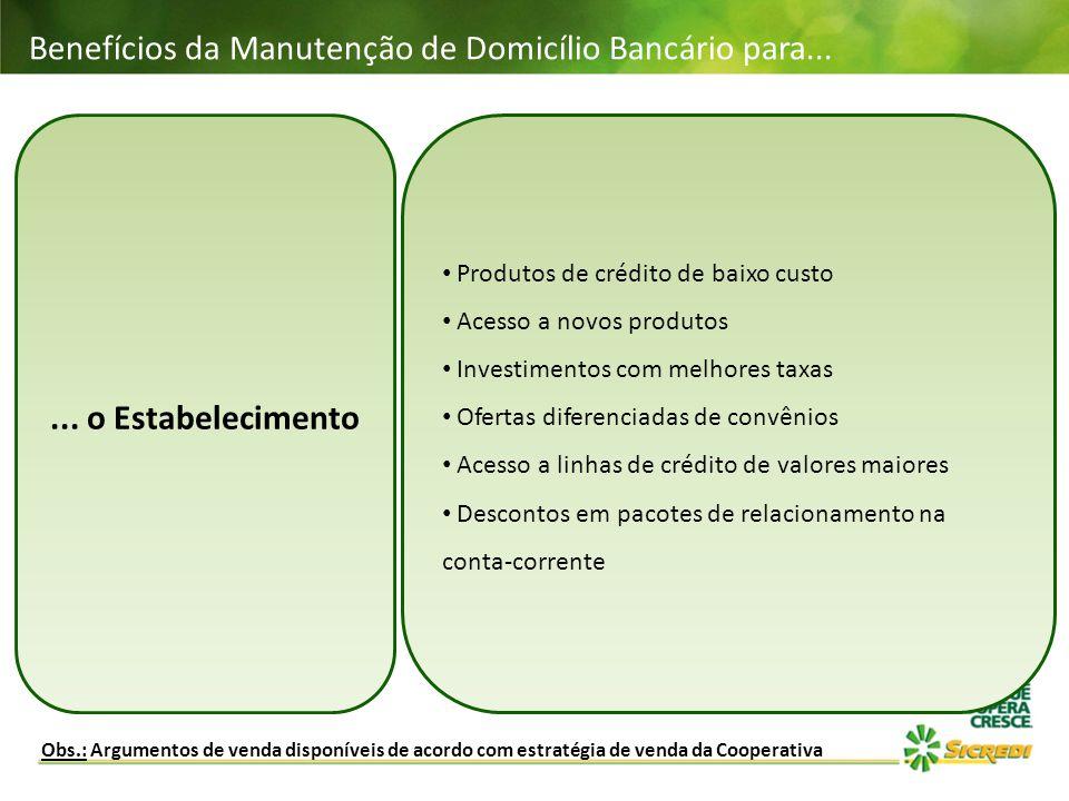 Benefícios da Manutenção de Domicílio Bancário para... Obs.: Argumentos de venda disponíveis de acordo com estratégia de venda da Cooperativa... o Est