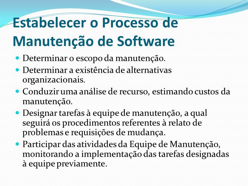 Estabelecer o Processo de Manutenção de Software Determinar o escopo da manutenção.