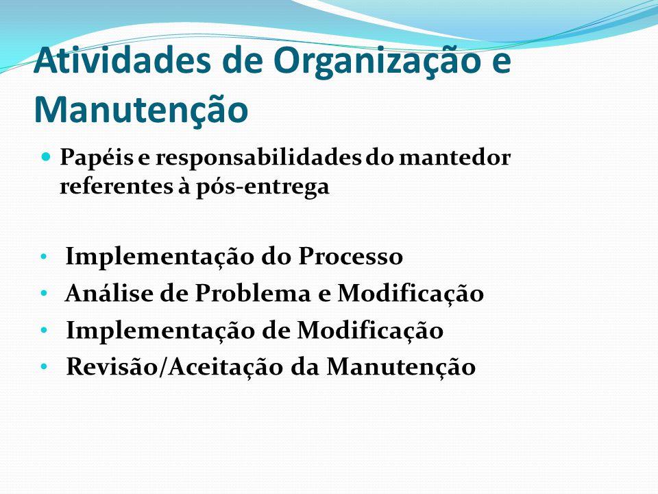 Atividades de Organização e Manutenção Papéis e responsabilidades do mantedor referentes à pós-entrega Implementação do Processo Análise de Problema e Modificação Implementação de Modificação Revisão/Aceitação da Manutenção