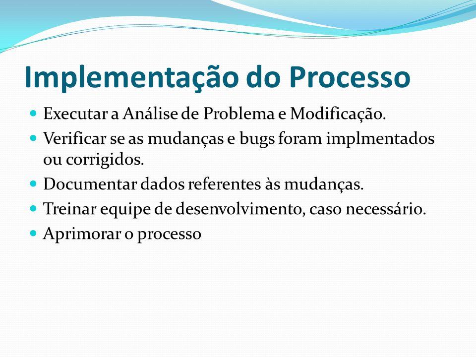 Implementação do Processo Executar a Análise de Problema e Modificação.