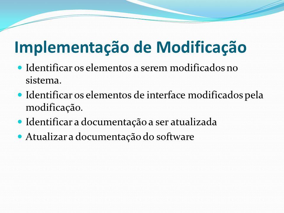 Implementação de Modificação Identificar os elementos a serem modificados no sistema.