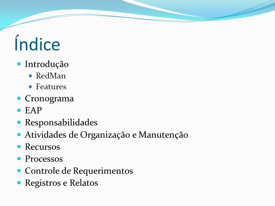 Índice Introdução RedMan Features Cronograma EAP Responsabilidades Atividades de Organização e Manutenção Recursos Processos Controle de Requerimentos Registros e Relatos