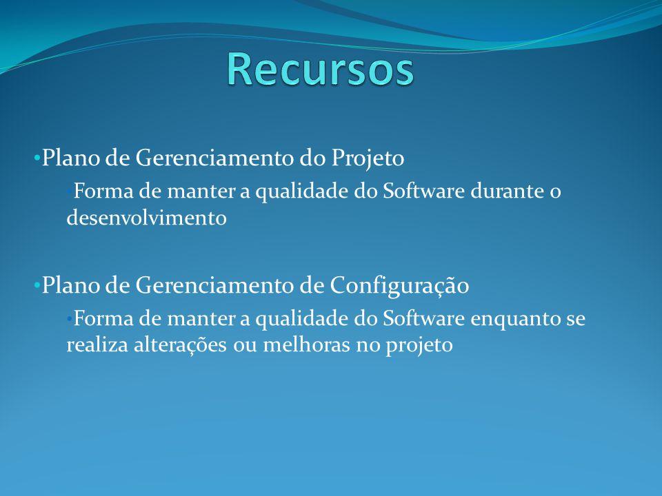 Plano de Gerenciamento do Projeto Forma de manter a qualidade do Software durante o desenvolvimento Plano de Gerenciamento de Configuração Forma de manter a qualidade do Software enquanto se realiza alterações ou melhoras no projeto