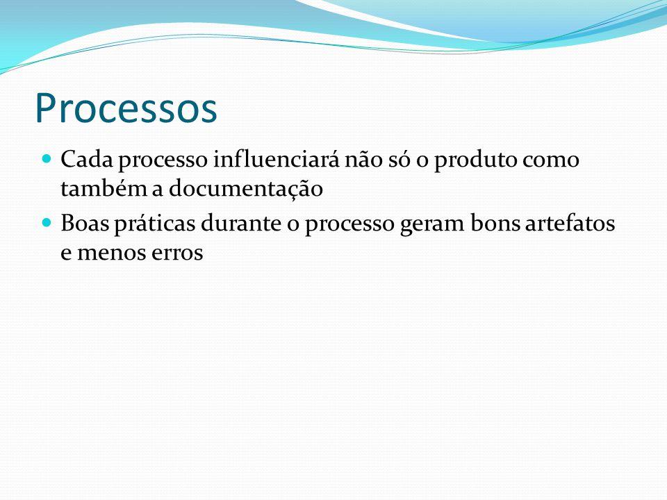 Processos Cada processo influenciará não só o produto como também a documentação Boas práticas durante o processo geram bons artefatos e menos erros