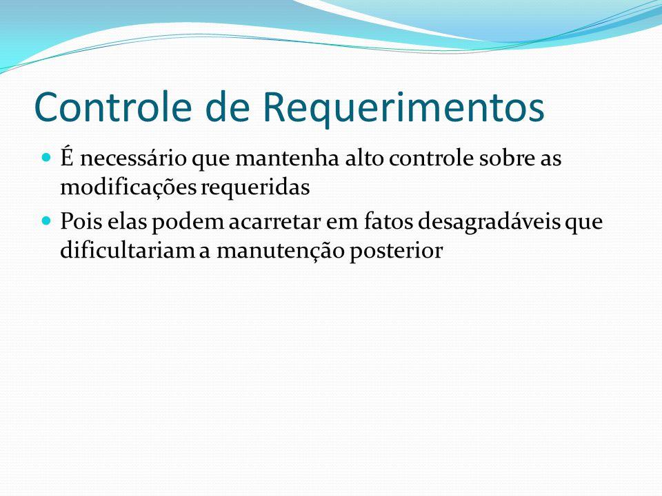 Controle de Requerimentos É necessário que mantenha alto controle sobre as modificações requeridas Pois elas podem acarretar em fatos desagradáveis que dificultariam a manutenção posterior