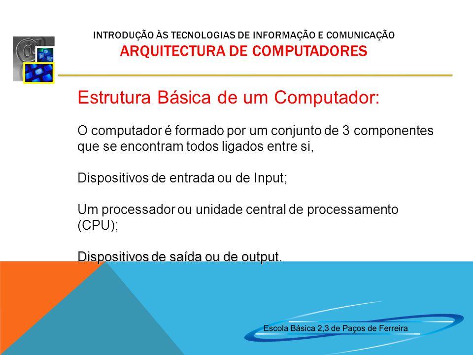 Estrutura Básica de um Computador: O computador é formado por um conjunto de 3 componentes que se encontram todos ligados entre si, Dispositivos de entrada ou de Input; Um processador ou unidade central de processamento (CPU); Dispositivos de saída ou de output Dispositivos de saída ou de output.