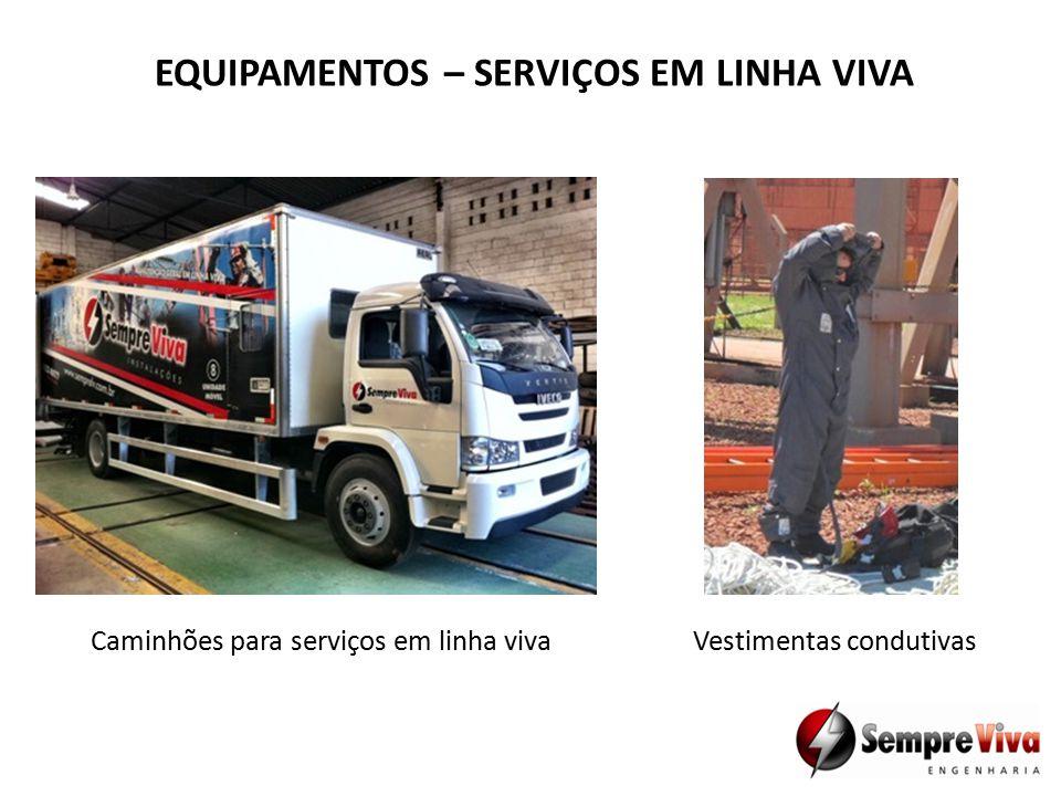 EQUIPAMENTOS – SERVIÇOS EM LINHA VIVA Caminhões para serviços em linha vivaVestimentas condutivas