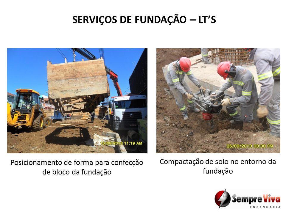 SERVIÇOS DE FUNDAÇÃO – LT'S Posicionamento de forma para confecção de bloco da fundação Compactação de solo no entorno da fundação
