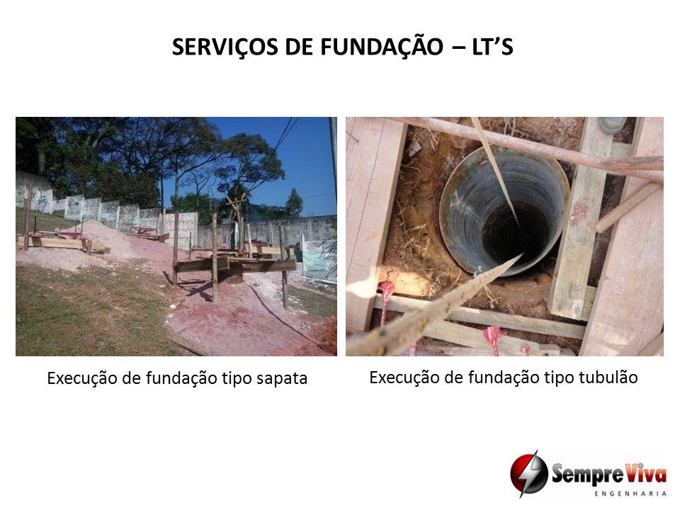 SERVIÇOS DE FUNDAÇÃO – LT'S Execução de fundação tipo sapata Execução de fundação tipo tubulão