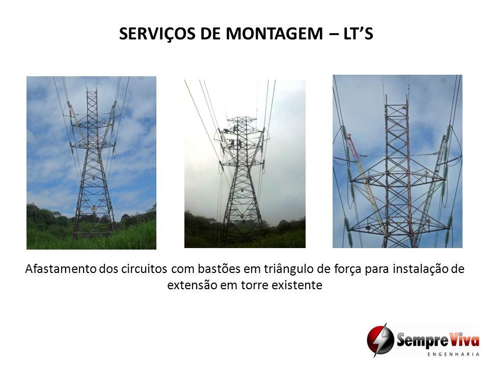Afastamento dos circuitos com bastões em triângulo de força para instalação de extensão em torre existente SERVIÇOS DE MONTAGEM – LT'S