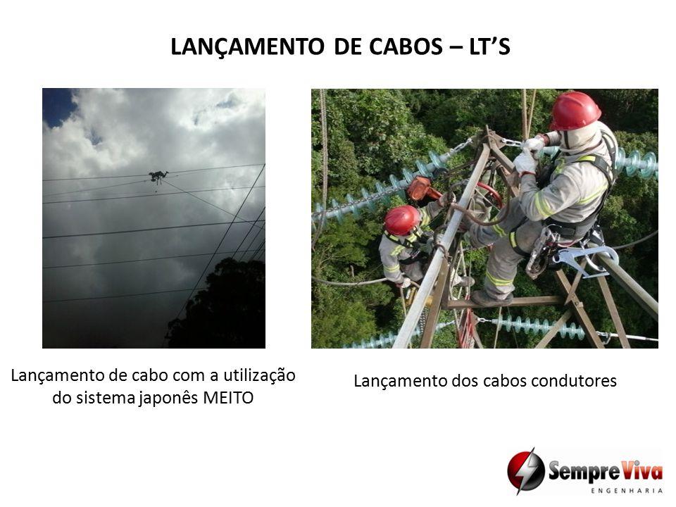 Lançamento de cabo com a utilização do sistema japonês MEITO Lançamento dos cabos condutores LANÇAMENTO DE CABOS – LT'S