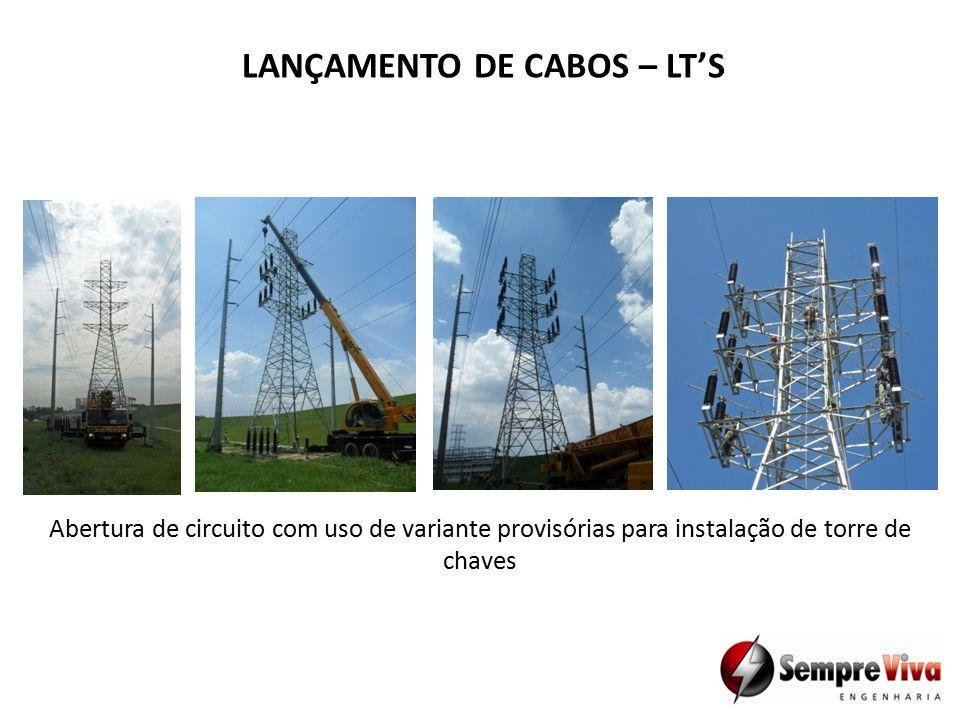 Abertura de circuito com uso de variante provisórias para instalação de torre de chaves LANÇAMENTO DE CABOS – LT'S