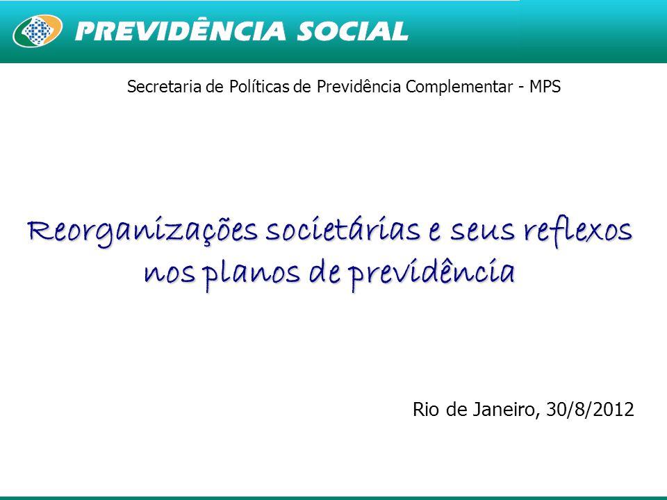 1 Secretaria de Políticas de Previdência Complementar - MPS Reorganizações societárias e seus reflexos nos planos de previdência Rio de Janeiro, 30/8/2012 Goiânia, 29 de Março de 2012